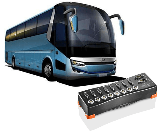 Bus and DEWE-43A DAQ system for brake testing