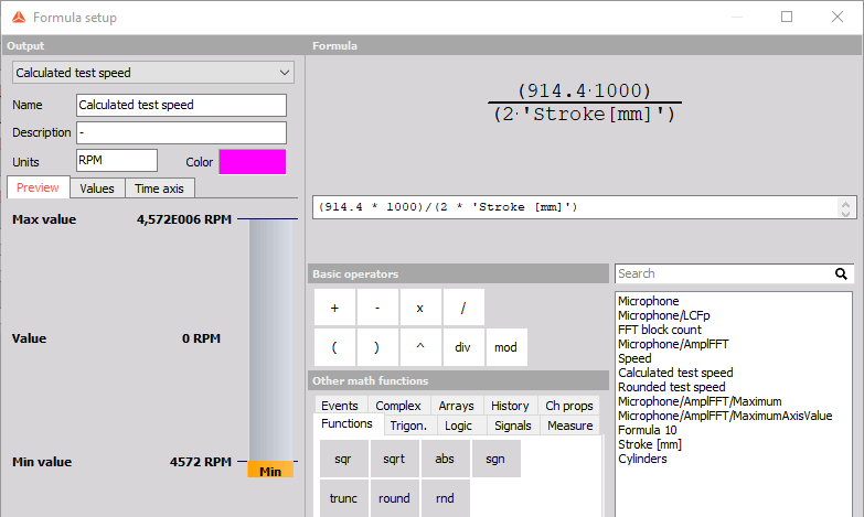 Math function for calculating the higher RPM limit