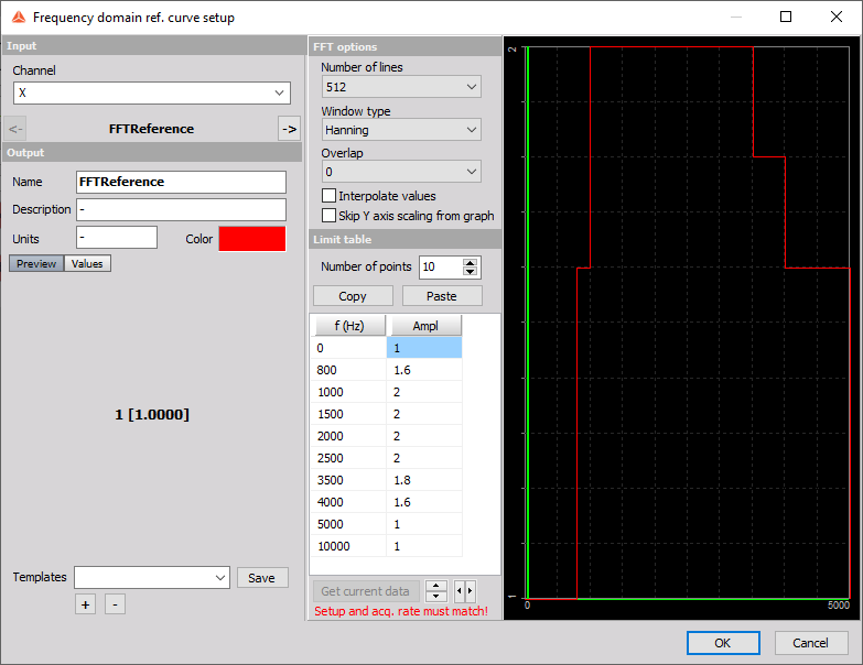 Frequency domain reference curve setup inside Dewesoft X DAQ software