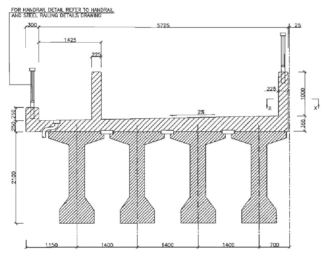 Cross-section of girders and deck – the bridge includes a reinforced concrete slab with a walkway (left)