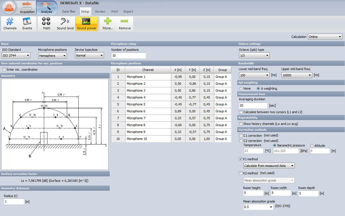 screenshoot of Dewesoft X software and sound measurement