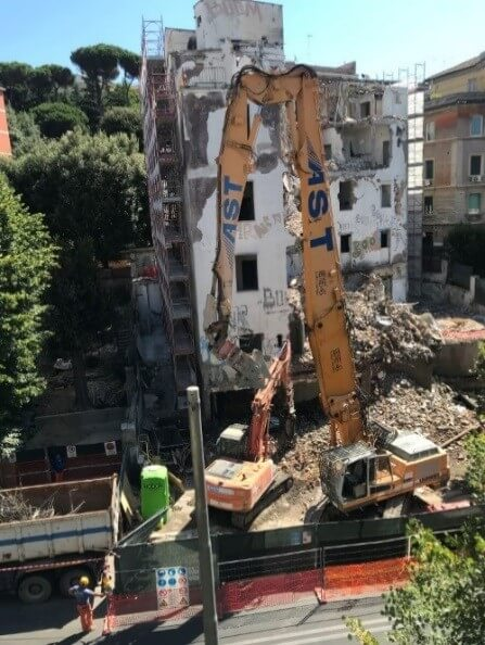 The demolition of a former Clinic via delle Medaglie d Oro in Rome