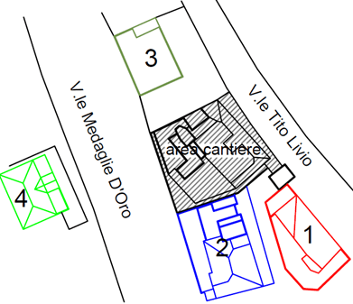 A sketch of the neighboring buildings monitored