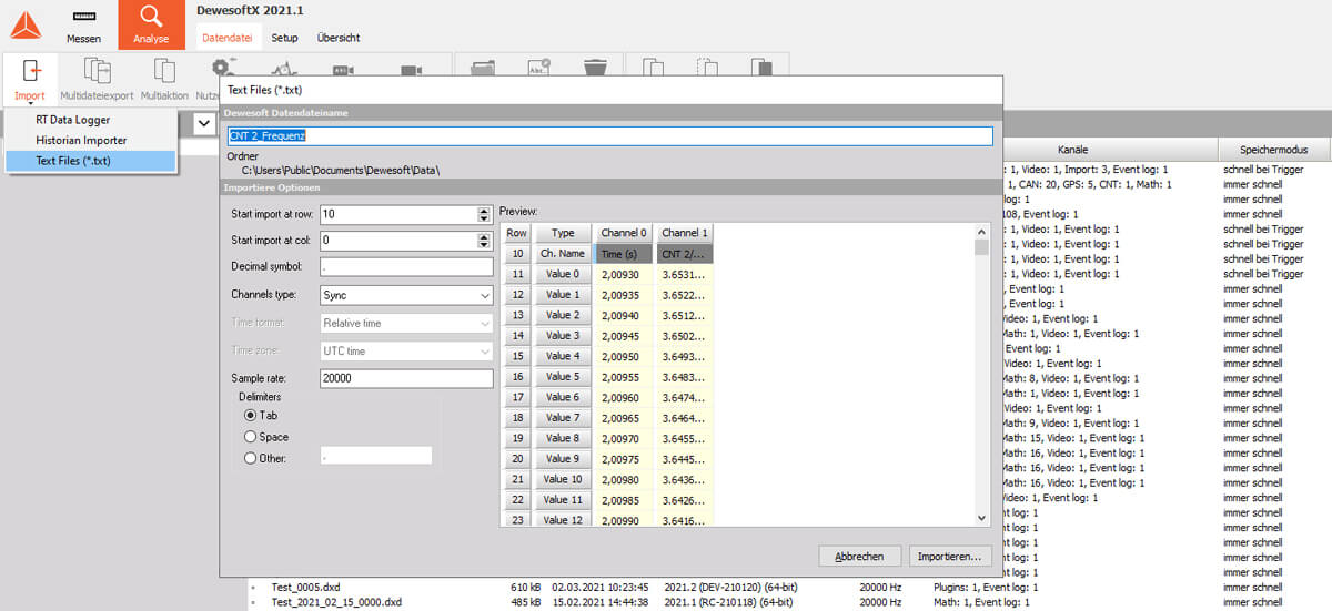 Importing the data logger TXT file for further analysis in Dewesoft