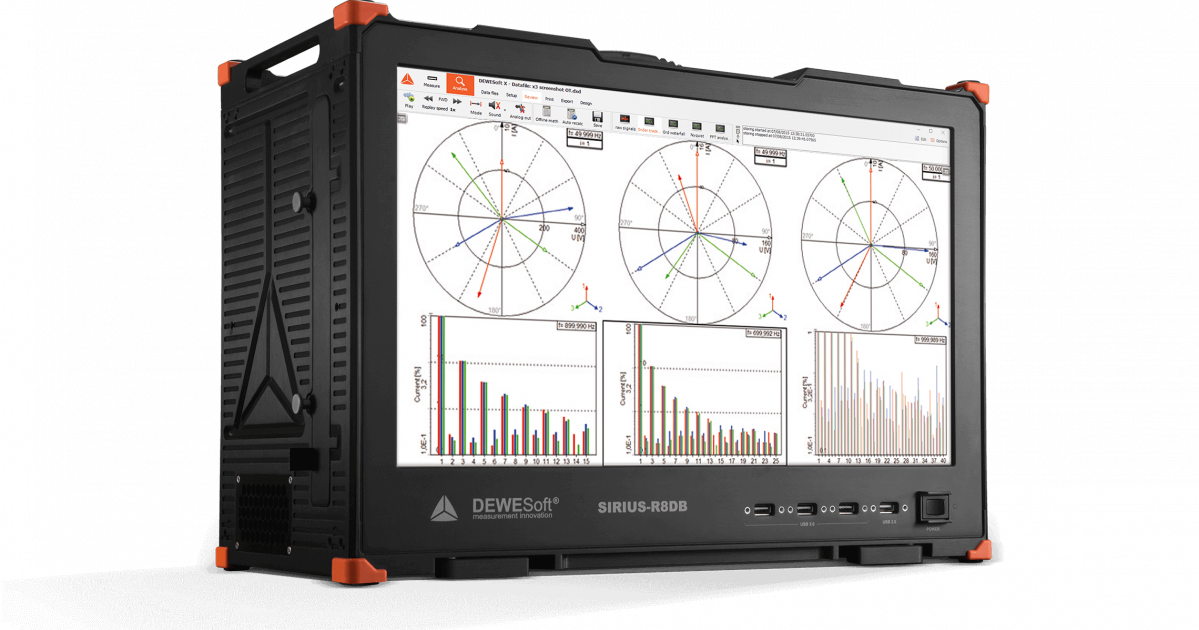 The Dewesoft R8DB power analyzer is capable of 32 high voltage and 32 current channel in a single box with RAW data storing and real-time powe analysis