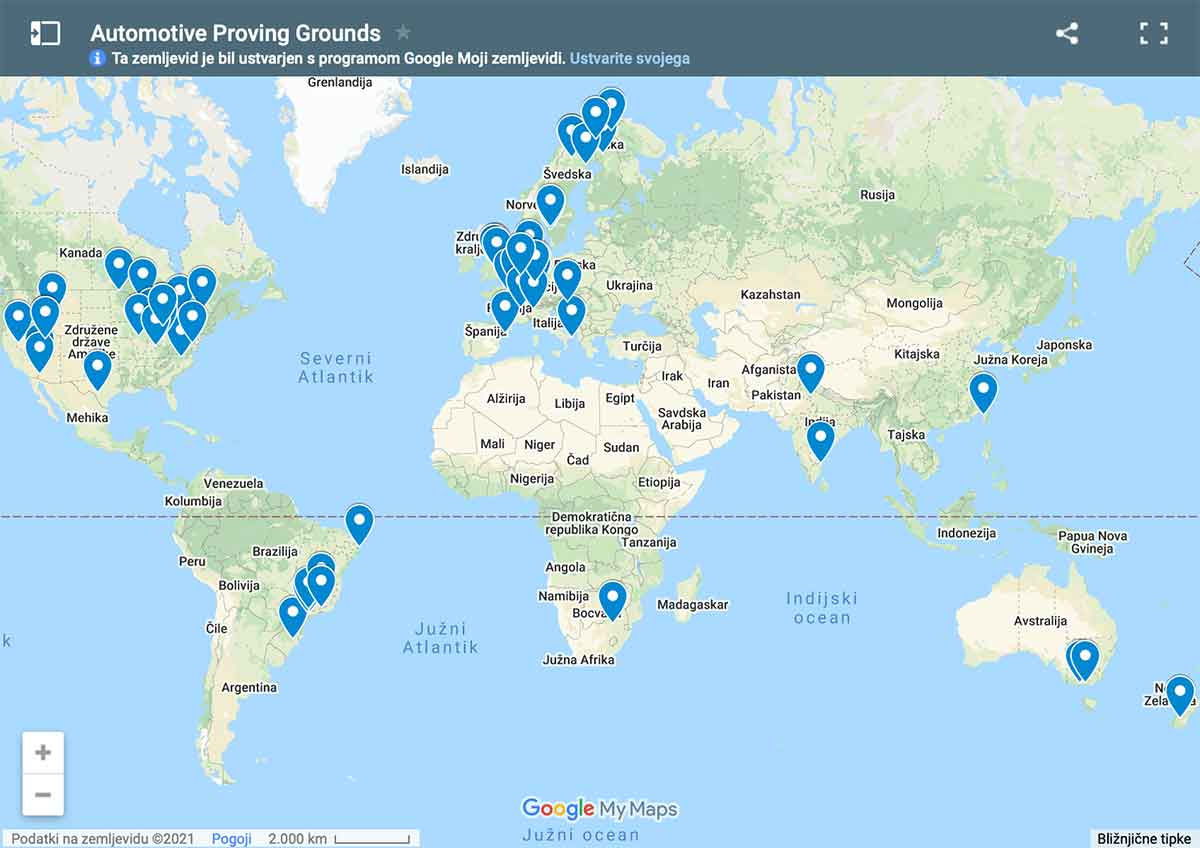 Interactive map of automotive proving grounds