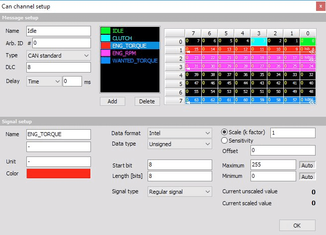 DewesoftX CAN bus channel setup screen, showing five different channels contained within a single message
