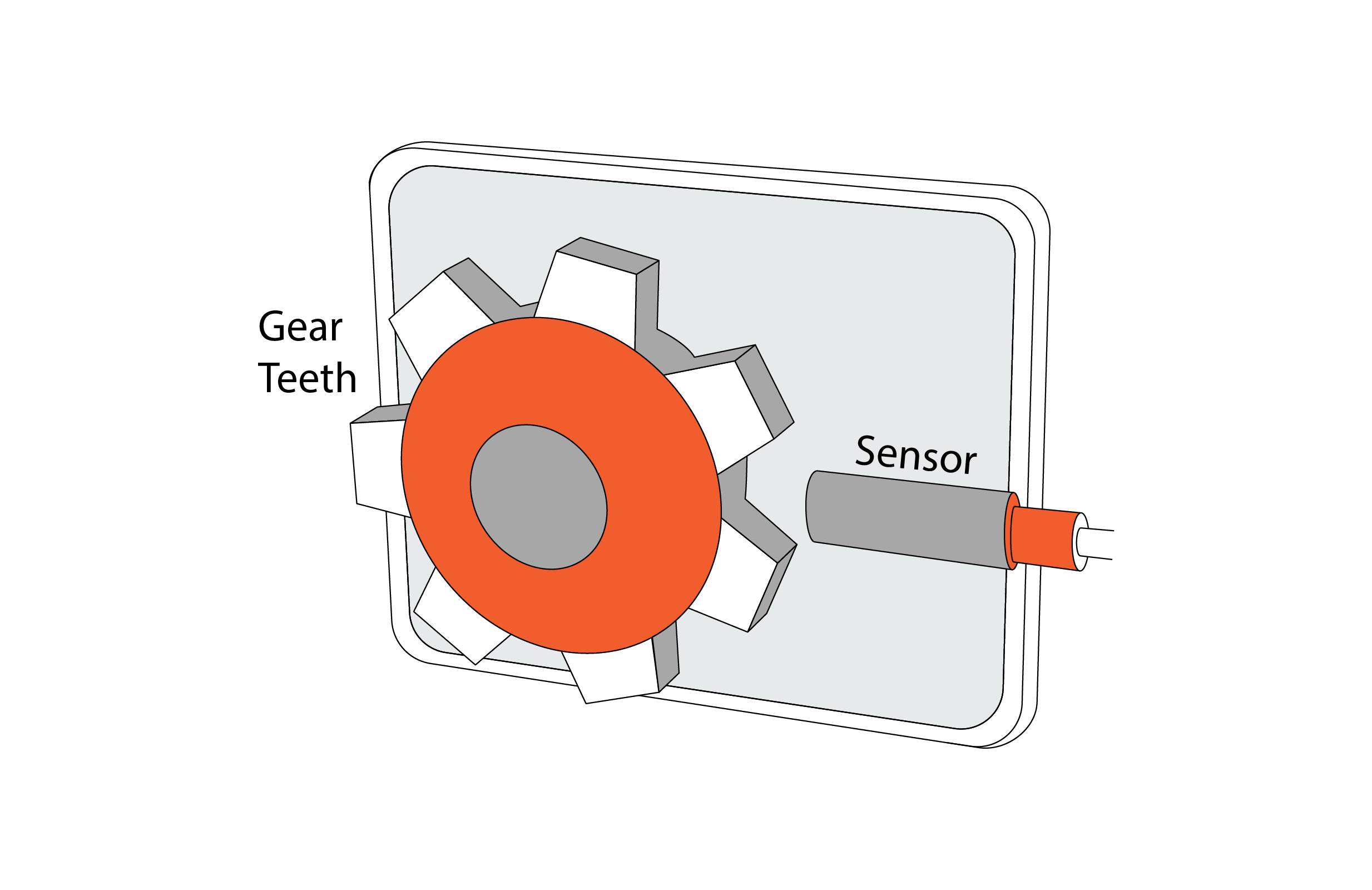 Gear tooth with proximity sensor