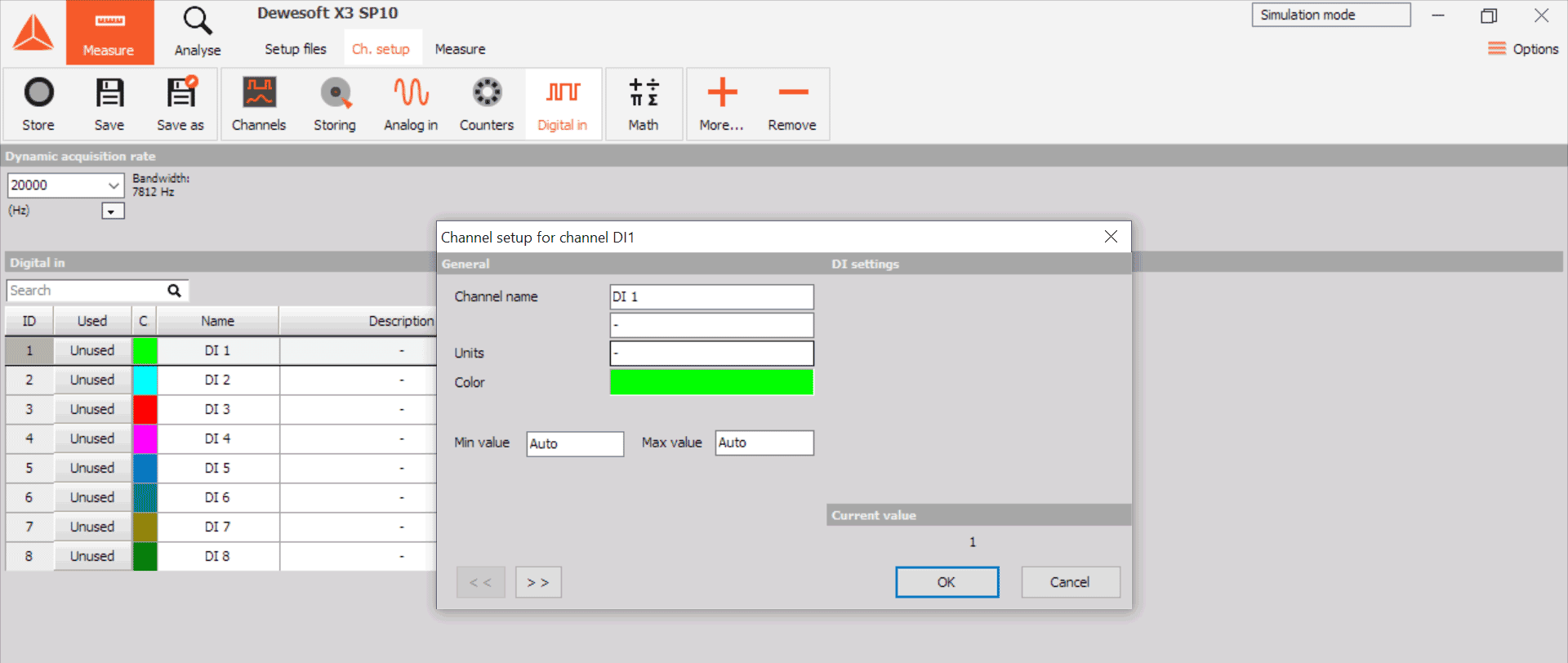 Dewesoft X Digital Input Channel Configuation