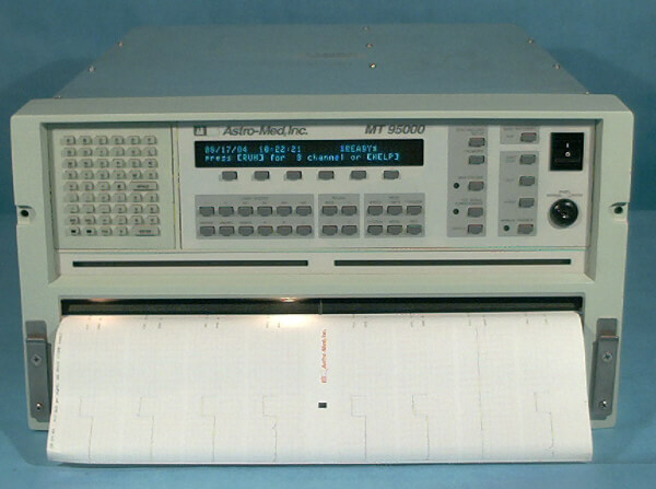 The Astromed MT95000 Recorder is an 8-channel recorder with laser-quality writing of 300 dpi, 20kHz frequency response, automatic self-calibration (traceable to NBS), data capture with 200kHz