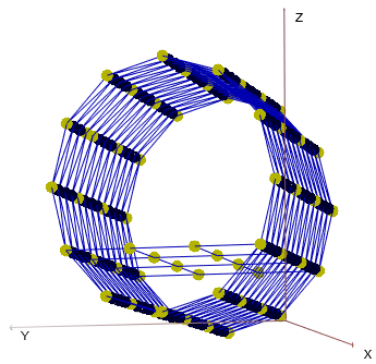 Example of a modal test geometry model. Yellow DOFs are the selected DOFs to measure.