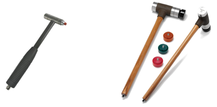 Different types of modal impact hammers