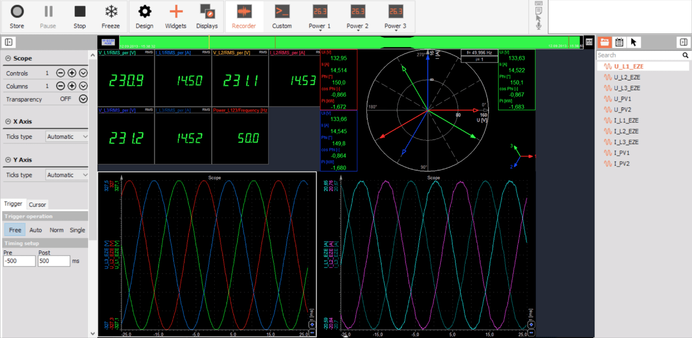 Typical 3-phase delta measurement screen from DewesoftXpower analysis software