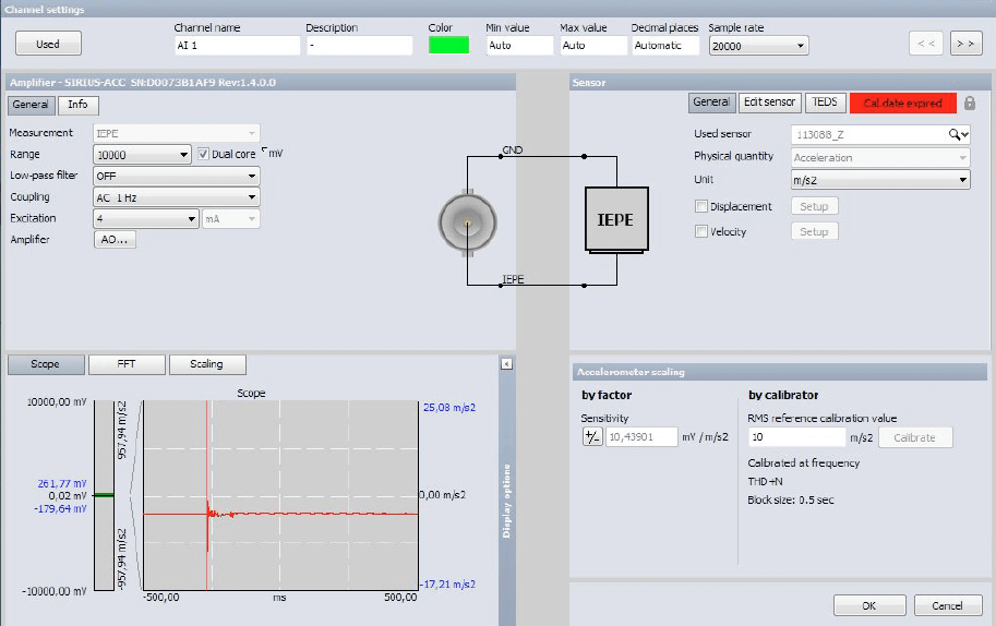 IEPE signal conditioner channel setup inside Dewesoft X data acquisition software