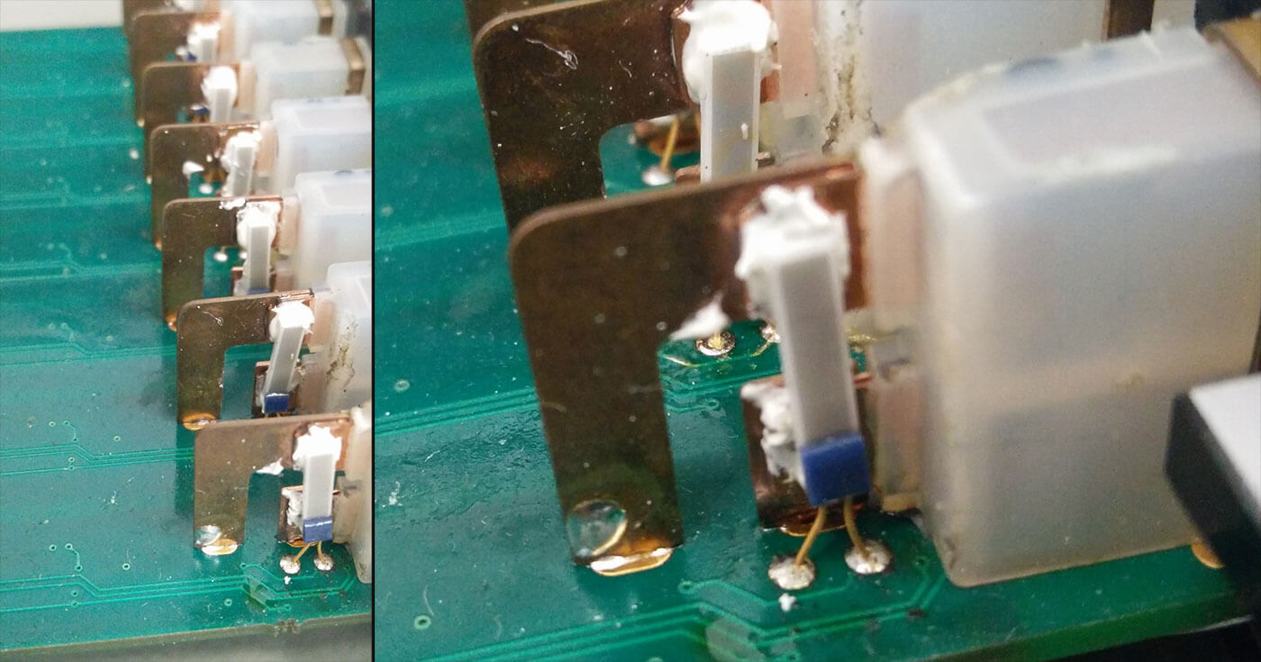 CJC inside a Dewesoft IOLITE TH thermocouple module. The white wires connect to a thermistor that is embedded within the white thermal paste.