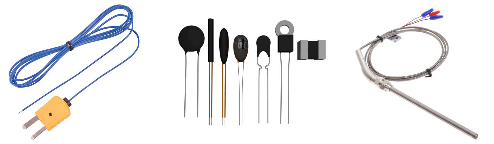 Different type of temperature sensors - thermistor, thermocouple and RTD