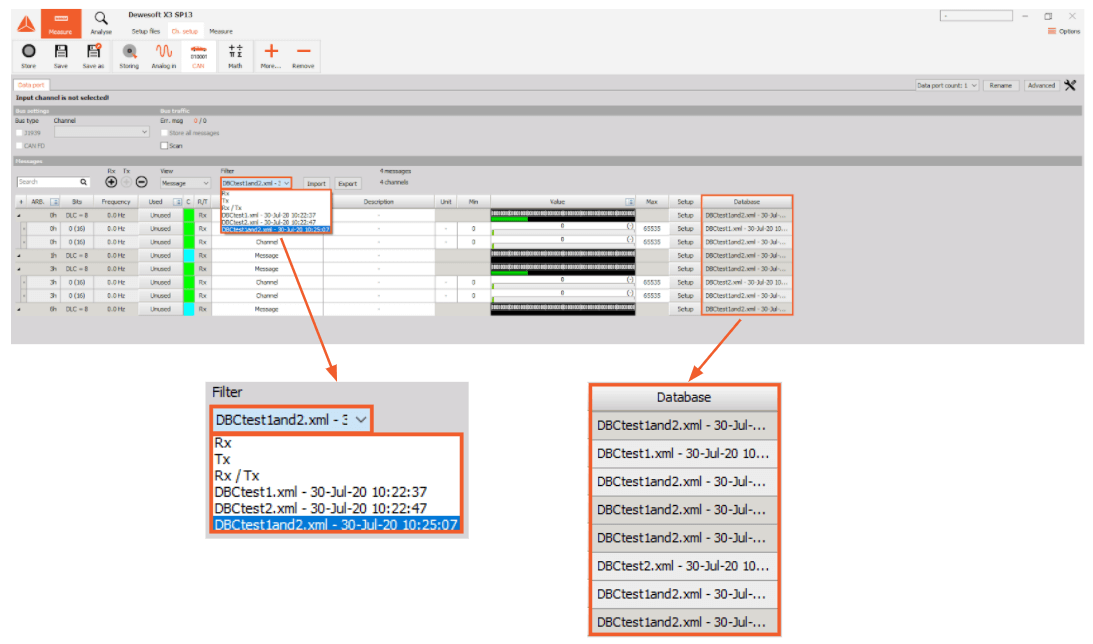 Dewesoft X CAN database filtering