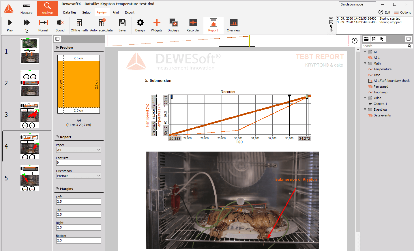 DewesoftX reporting page example