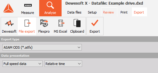 ASAM ODS export Settings inside Dewesoft X