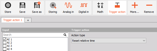 Trigger action setup inside Dewesoft X data acquisition software