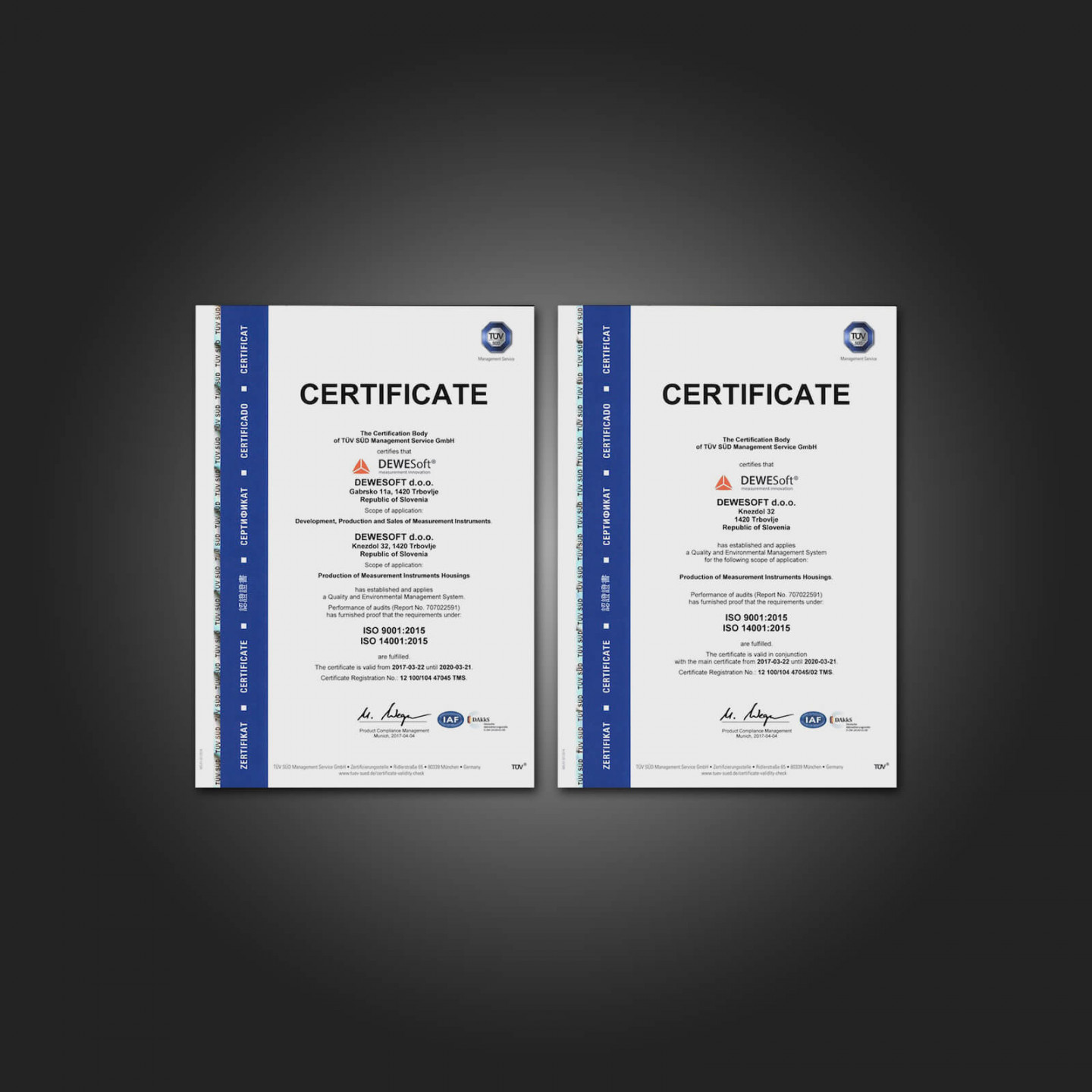 Dewesoft ISO 9001 and 14001