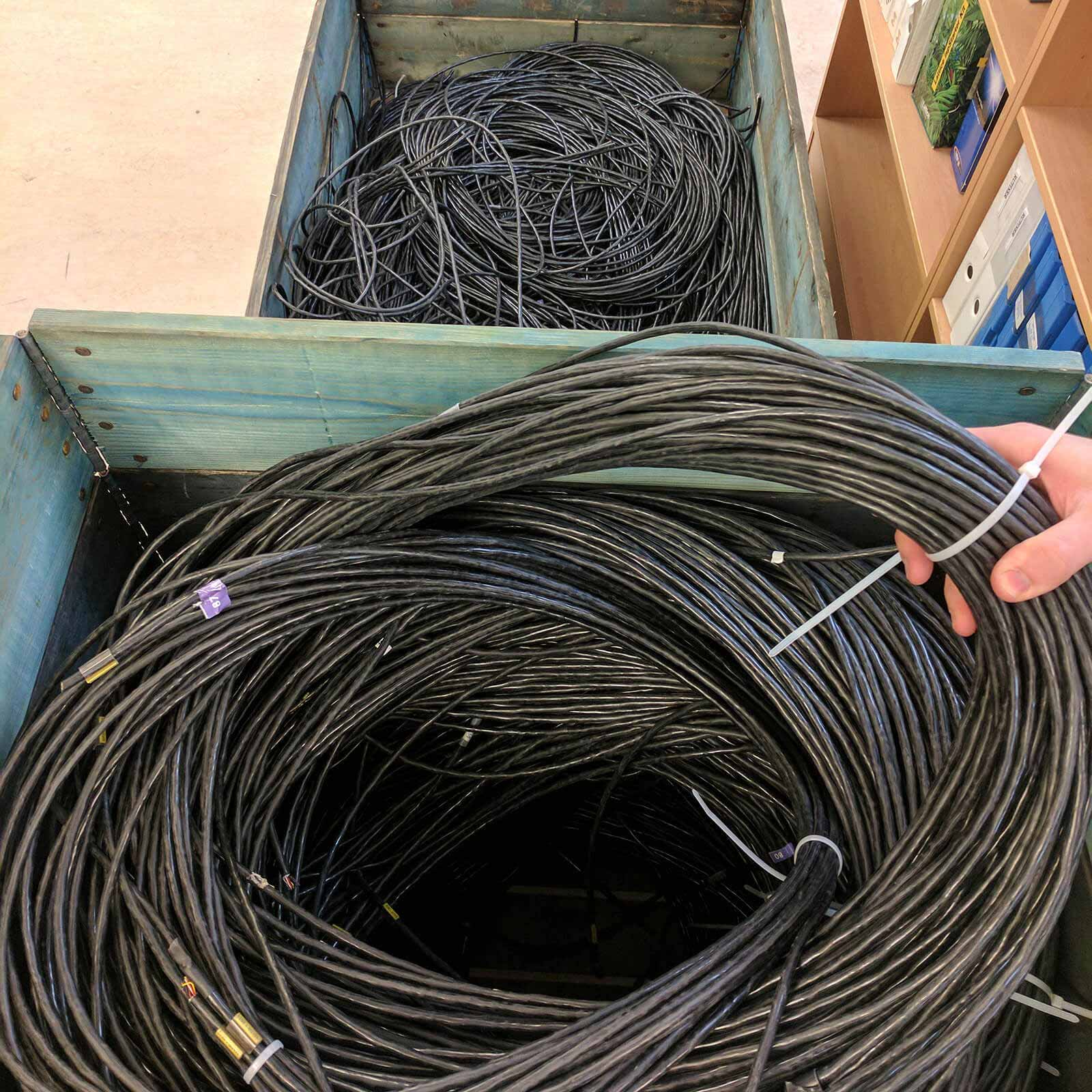 around two kilometers of black cable